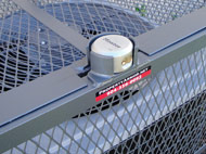 The Slammer AC Cage is similar to the Rigid AC Cage but also features a Hinged Gate for Authorized Access