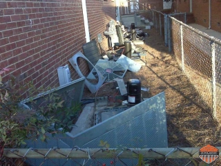 A horribly salvaged AC Unit by thieves!